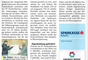Zeitungsartikel: Zu- und Umbau Feuerwehrhaus 05.02.2021